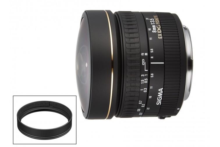 Objetiva Prime Sigma DG 8mm f3.5 EX Fisheye + Adaptador Filtros CA483-72 (para Nikon F)